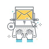 Color line, email concept illustration, icon