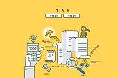 color line flat design of tax