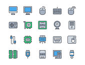 Color line icon set of Computer and Hardware for website mobile app and more . Pixel perfect icons design , Editable Stroke.