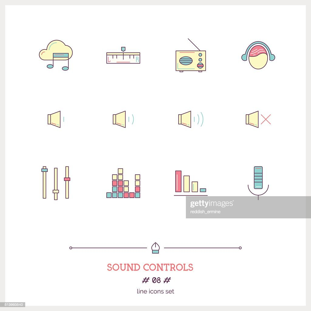 Color line icon set of modern minimalistic media player