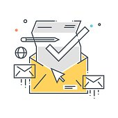Color line, inbox, receive mail concept illustration, icon