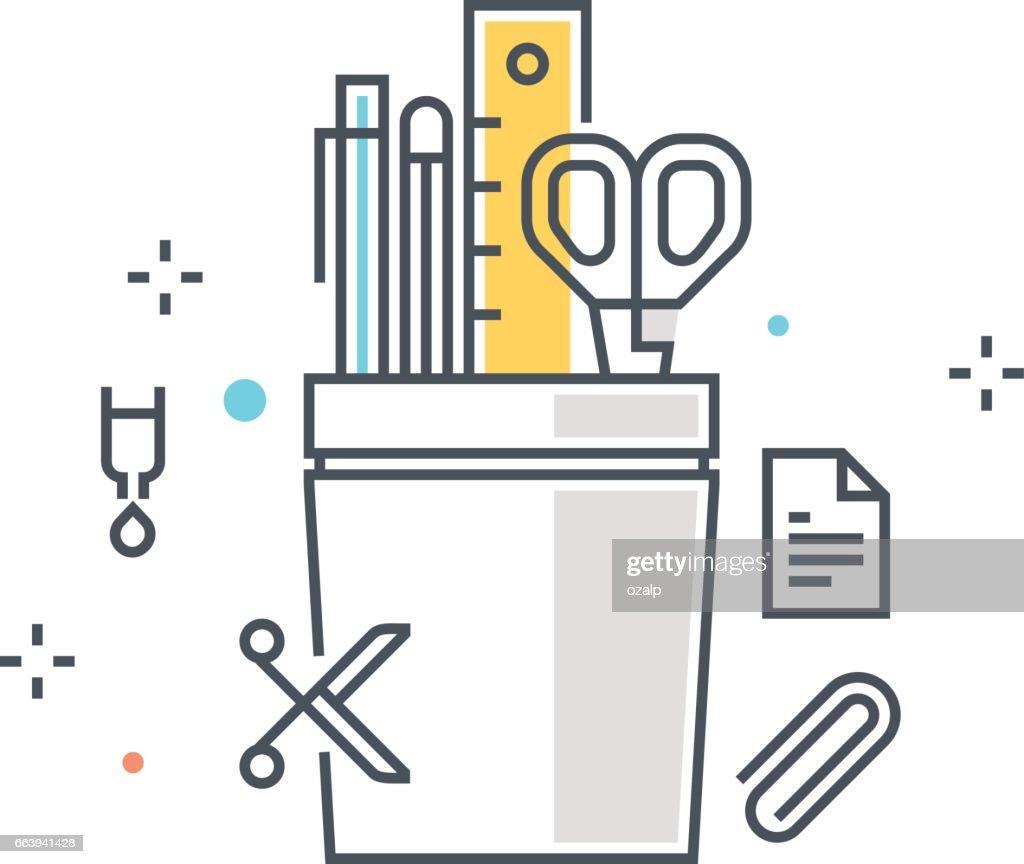 Color line, pencil box concept illustration, icon