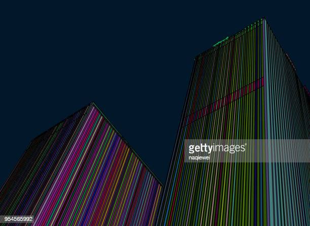 color line structure building pattern - point of view stock illustrations