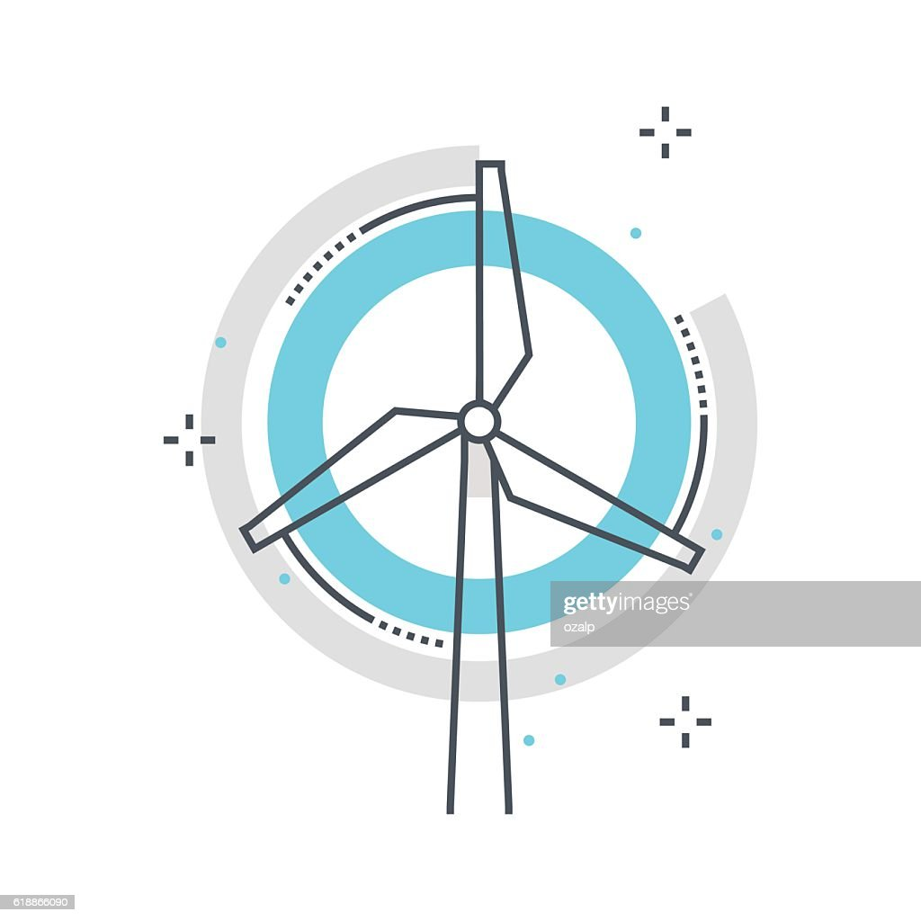Color line, wind mill concept illustration, icon