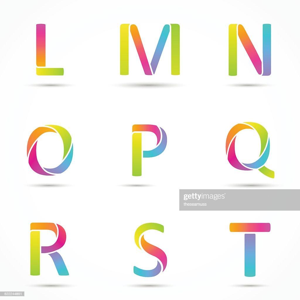 Color logo letters font template.