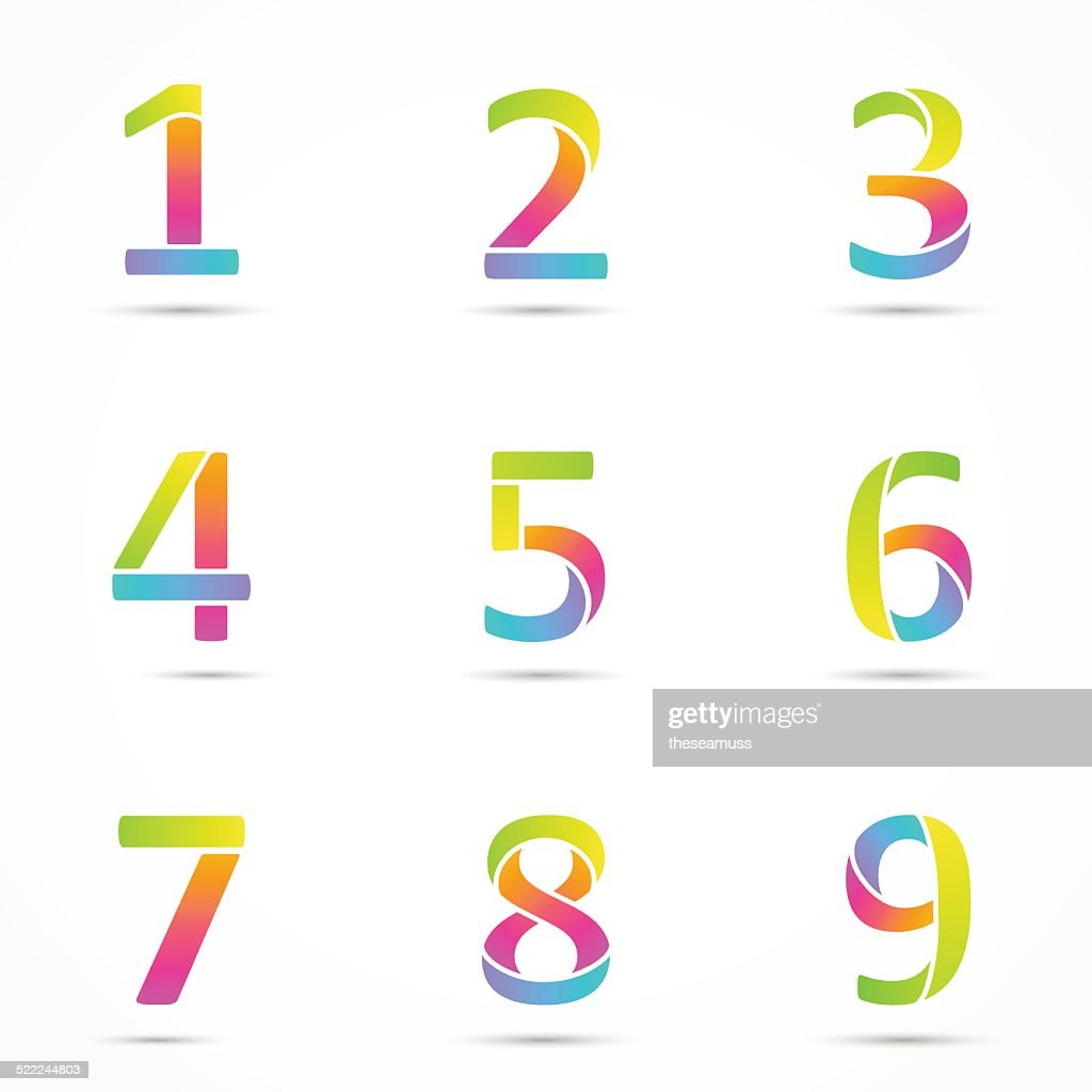 Color logo numbers font template.