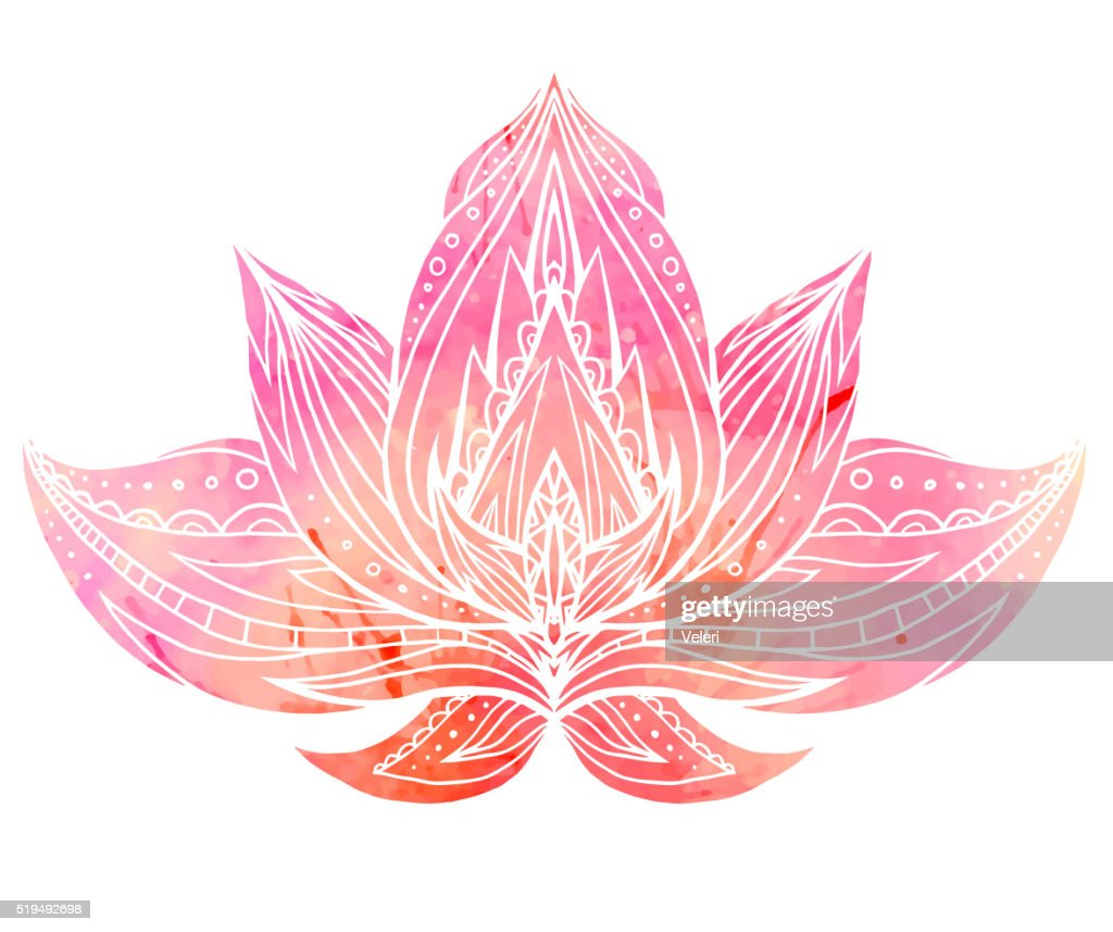 Color Lotus with boho pattern and watercolor background.