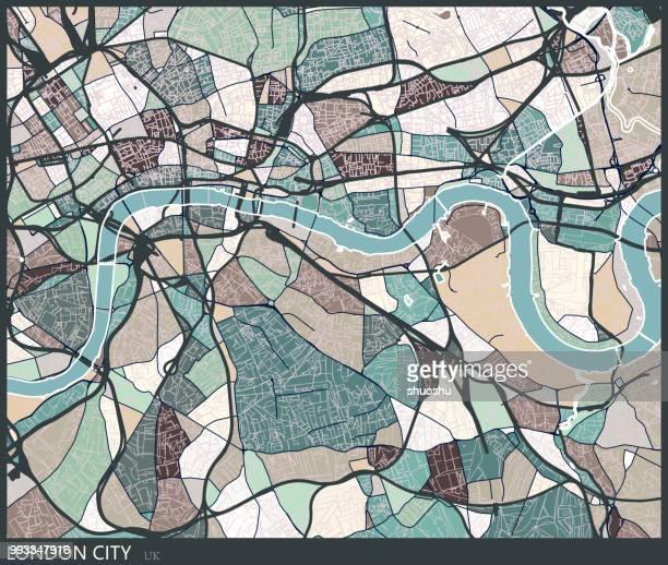 illustrazioni stock, clip art, cartoni animati e icone di tendenza di color lump style london city art map - arte, cultura e spettacolo