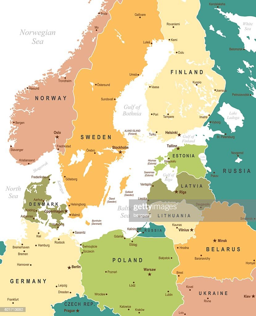 Color map of baltic sea area vector art getty images color map of baltic sea area vector art sciox Image collections