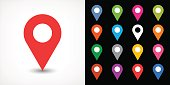 Color map pin sign location icon with drop shadow