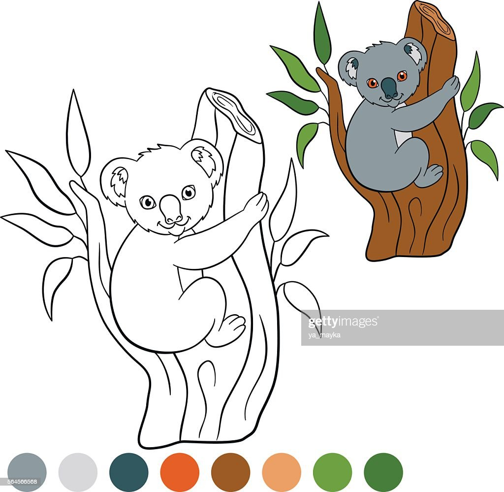 Color me: koala. Little cute baby koala smiles.