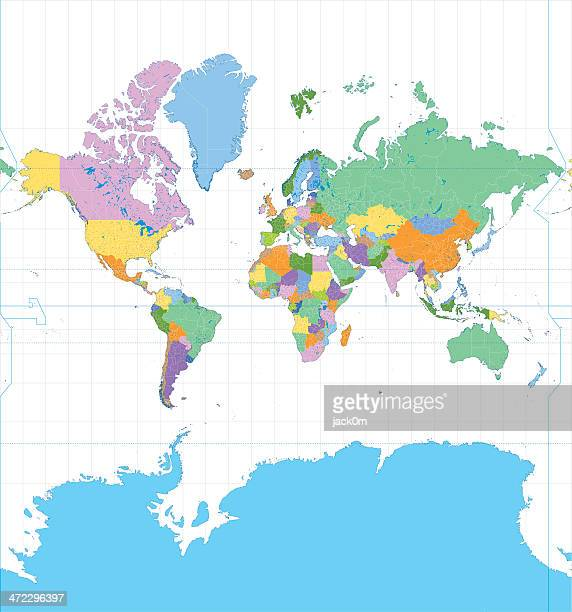 color mercator map - close up stock illustrations