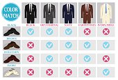 Color mix match guide for shoes and suit