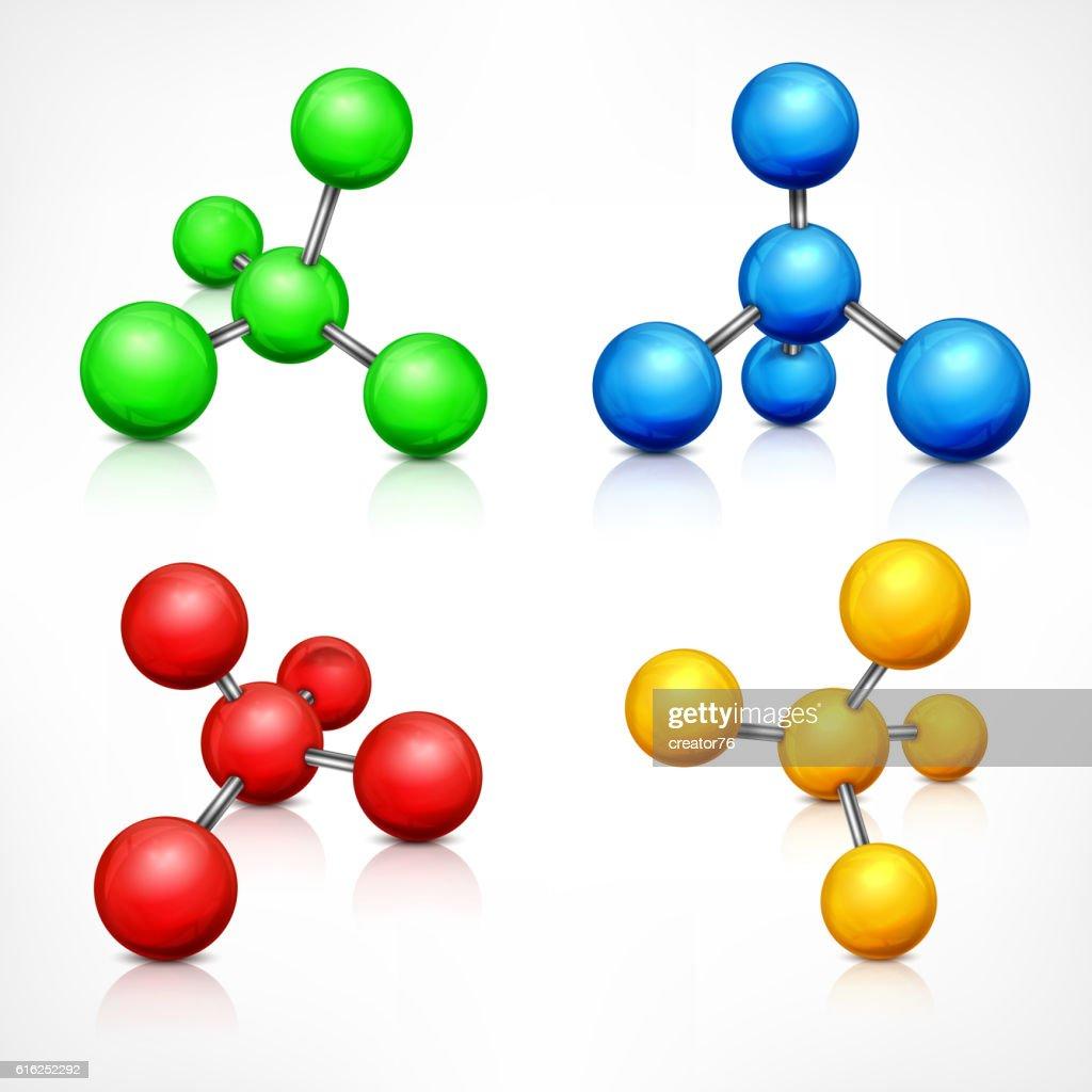 Color molecules on white : Vector Art