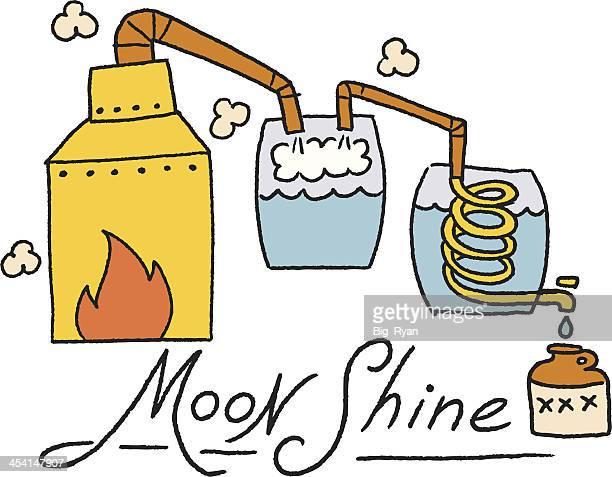 color moonshine illustration - distillation stock illustrations, clip art, cartoons, & icons