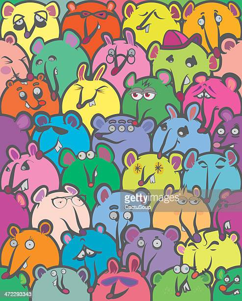 ilustraciones, imágenes clip art, dibujos animados e iconos de stock de color mouses - grupo grande de animales