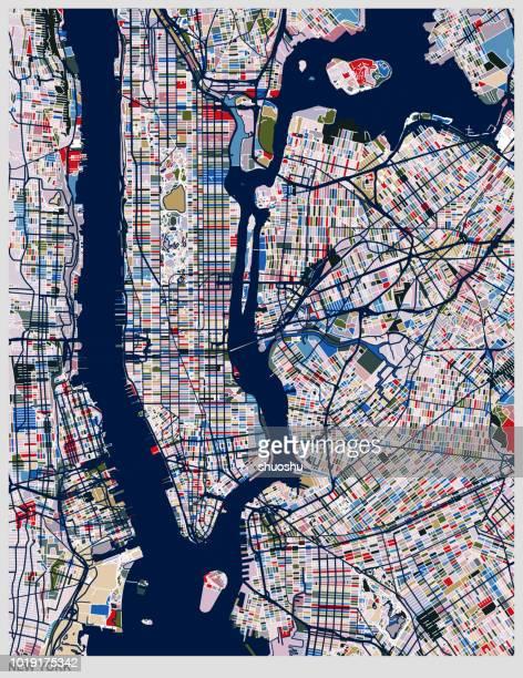 illustrations, cliparts, dessins animés et icônes de illustration de carte de ville de new york de couleur - cartographie