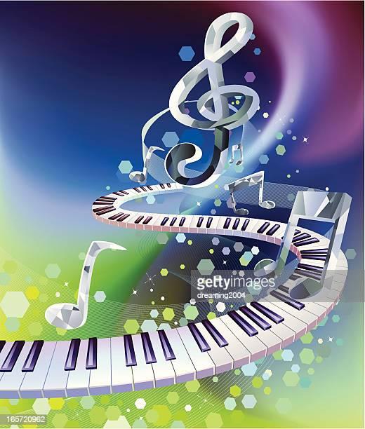 ilustraciones, imágenes clip art, dibujos animados e iconos de stock de color de música - tecla de piano