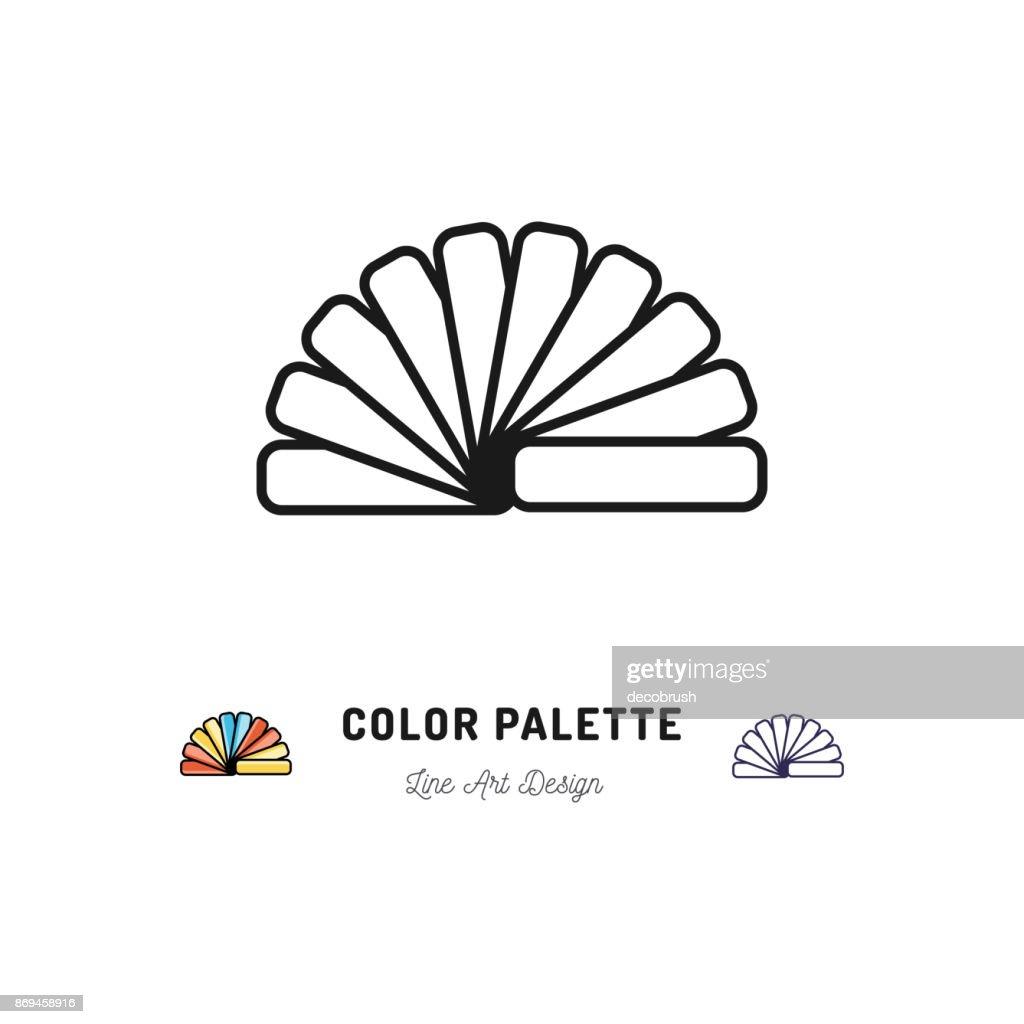 Color palette icon, Pantone colors. Interior design and home repair outline symbols. Vector flat illustration