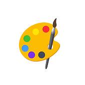 Color palette with brush. Paint palette. Paints palette. Vector Illustration.