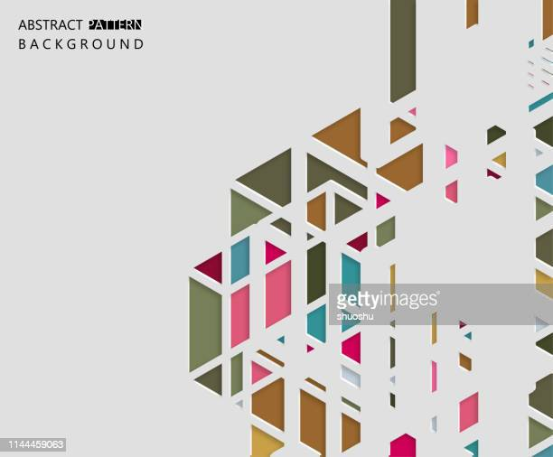 color papercutting hollow style geometric ornate pattern background - rhombus stock illustrations