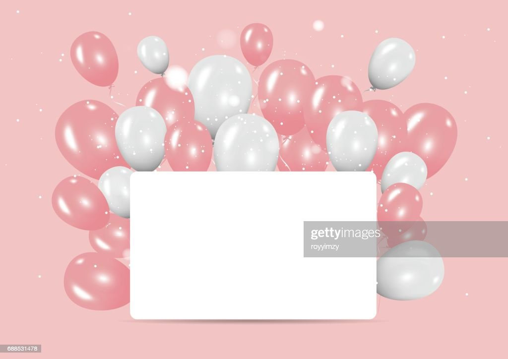 Color pastel with happy birthday balloons banner background. minimal concept. Vector Illustration