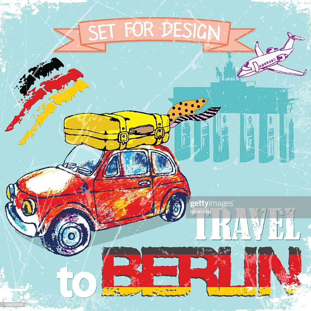 color pencil funny red car, travel to Berlin