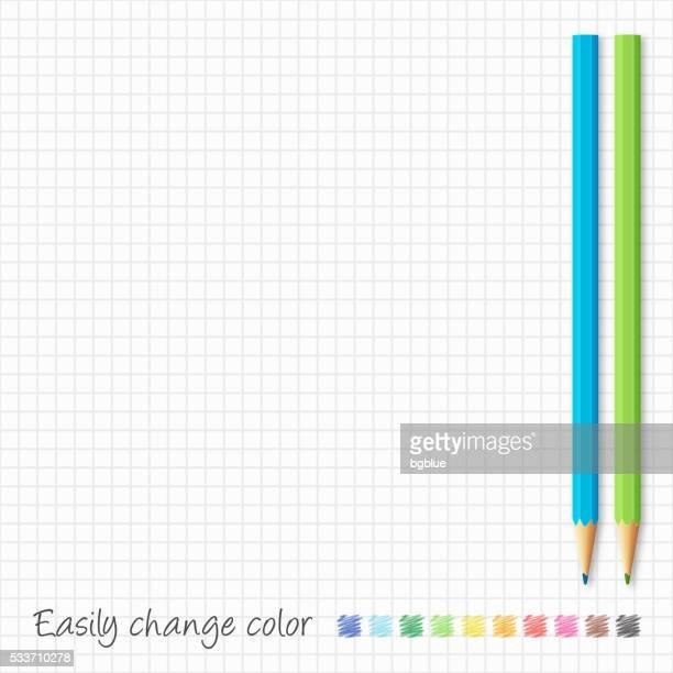 Color pencils on grid paper - Blue & Green