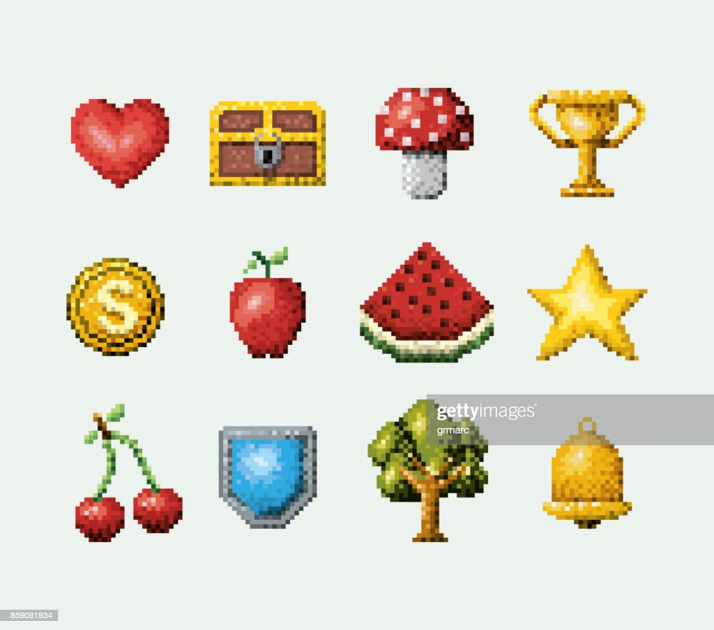 color pixelated set of elements arcade game icons