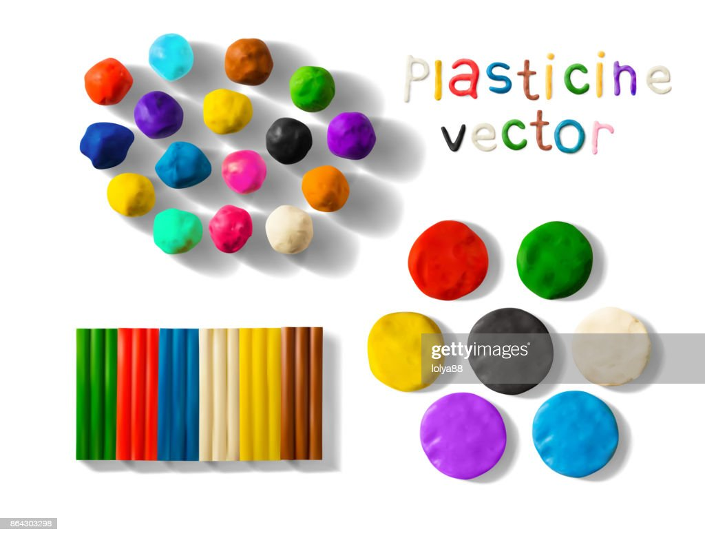 Color plasticine set isolated on a white background. 3d Vector illustration