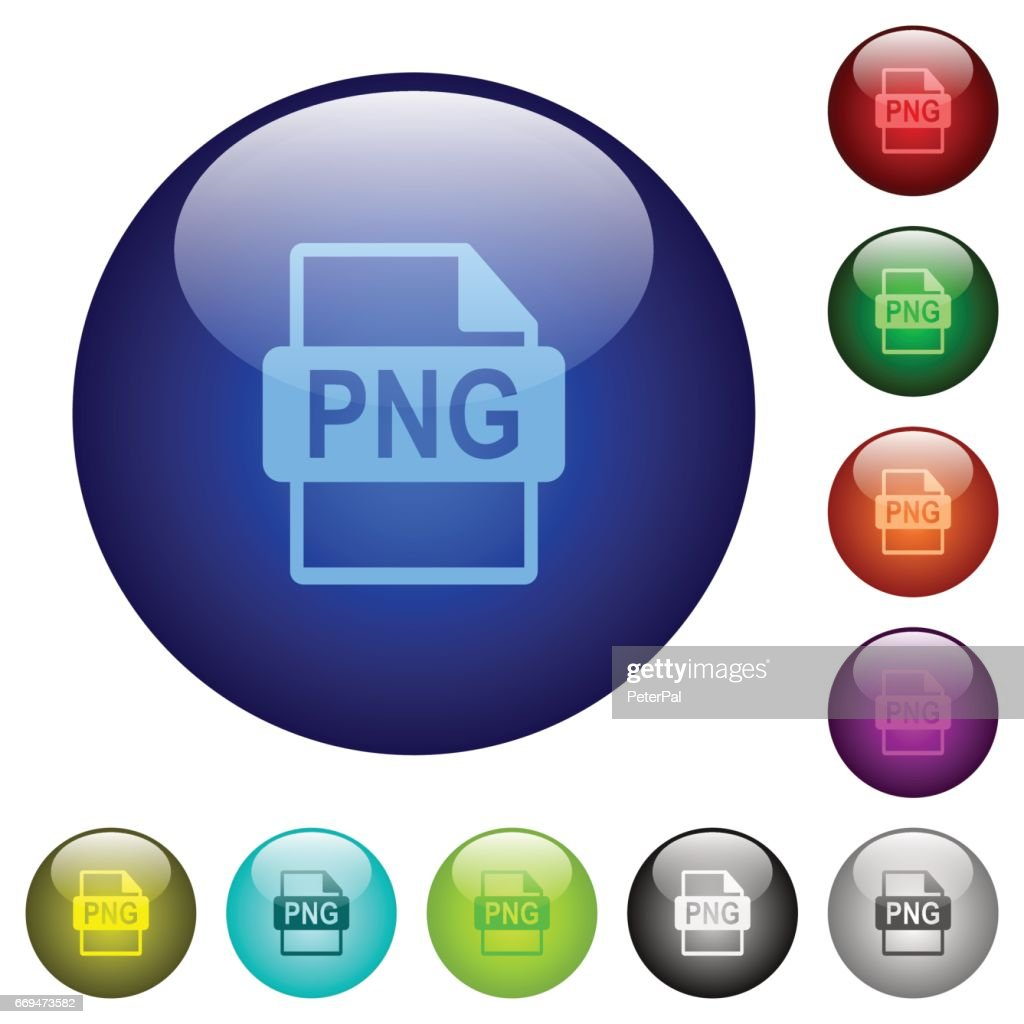 Color PNG file format glass buttons