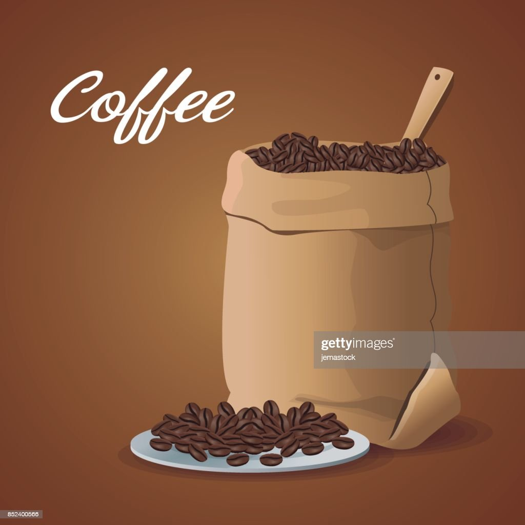 color poster sack with coffee beans