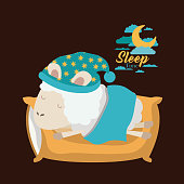 color poster scene of sheep sleeping in pillow and bubble night landscape sleep time