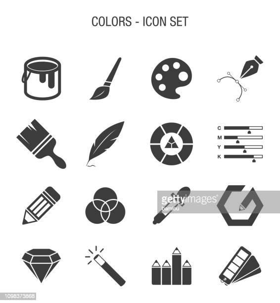 farbe im zusammenhang mit icon set - pinsel stock-grafiken, -clipart, -cartoons und -symbole