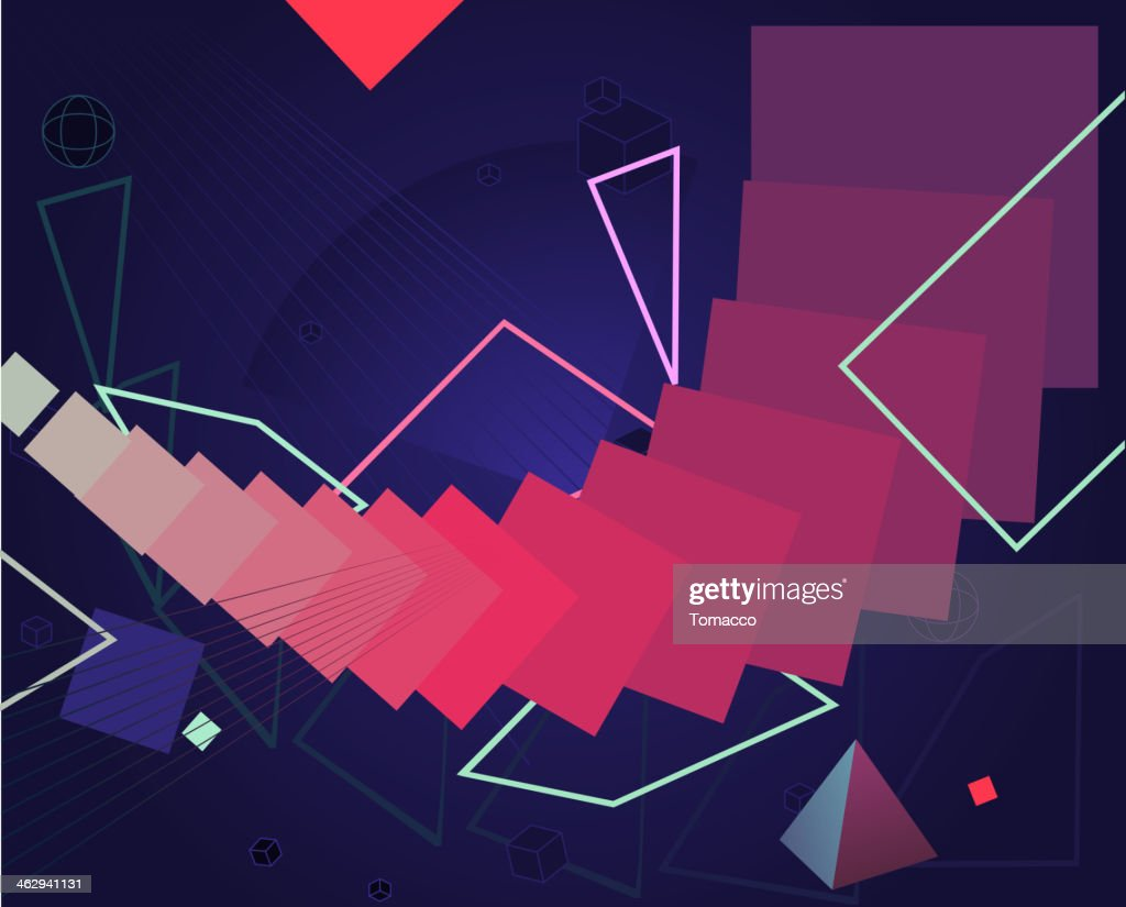 Color Retro 80's Style Cyberspace Technology Background