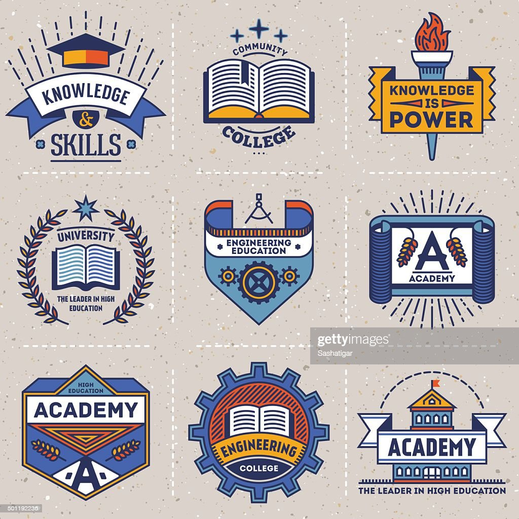 Color retro design insignias high education logotypes set 2.