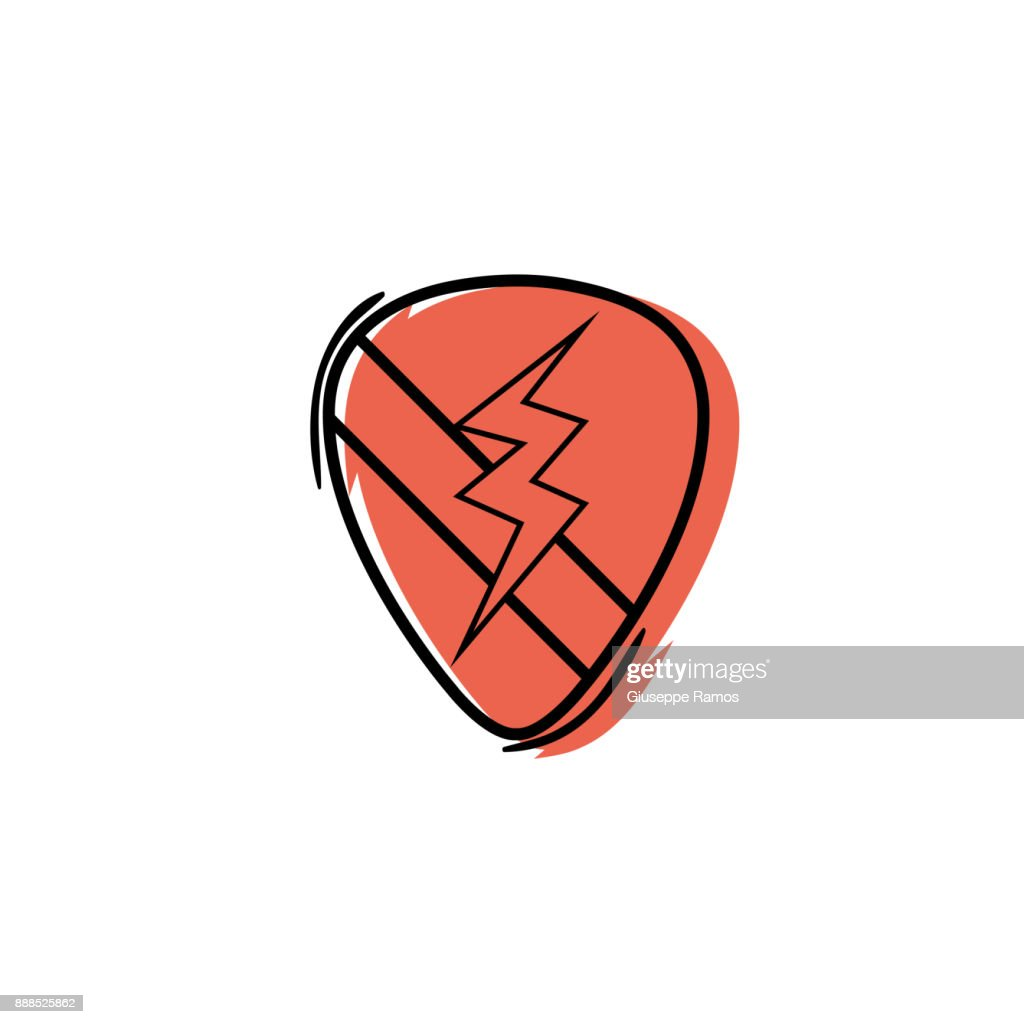 color rock emblem with thunder symbol design
