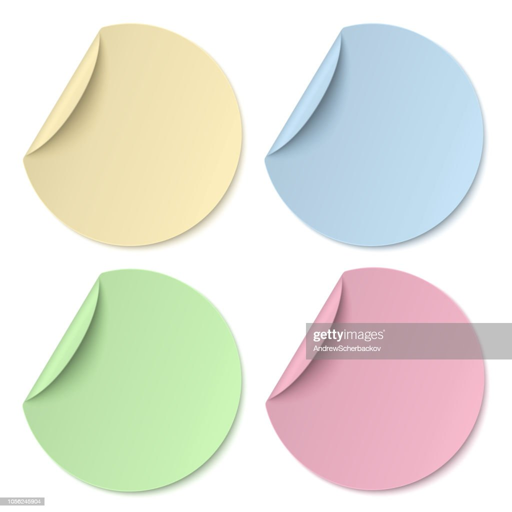 Color round paper stickers isolated on white background. Light from upper left.
