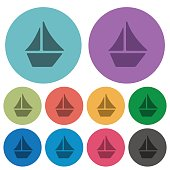 Color sailboat flat icons