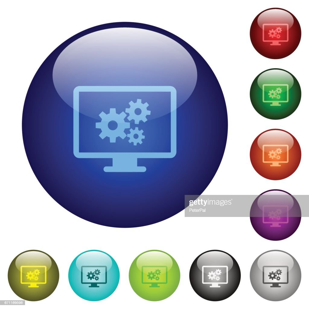 Color screen settings glass buttons