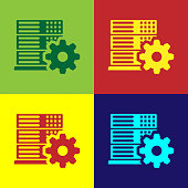 Color Server setting icon isolated on color backgrounds. Flat design. Vector Illustration