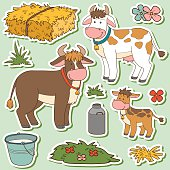 Color set of farm animals and objects, vector family cow