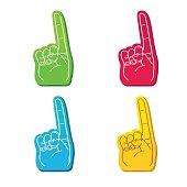 color set of foam fingers