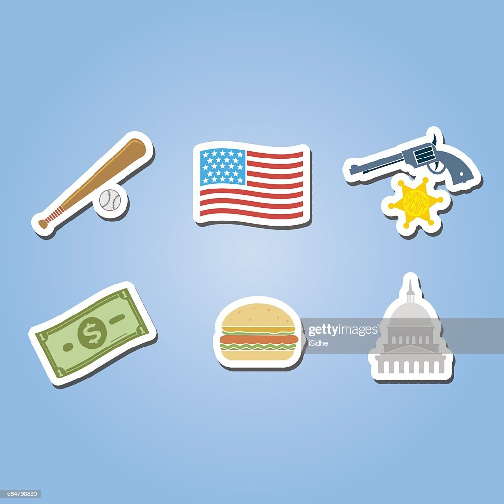 color set with usa icons for your design