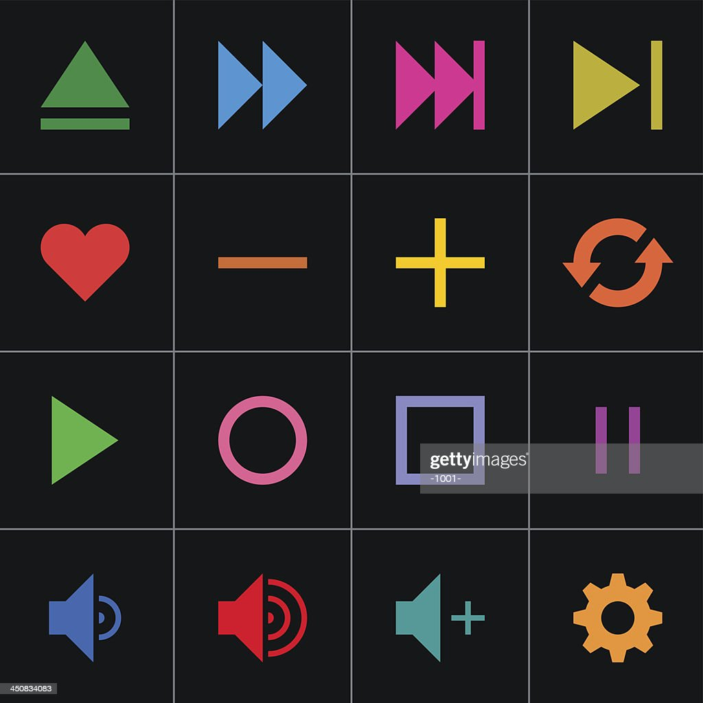 Color sign media player icon web button simple pictogram