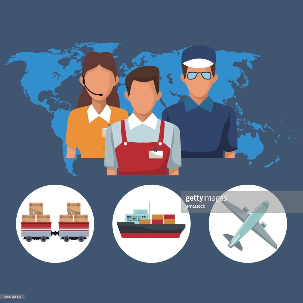 Color silhouette world map background with icons people logistics color silhouette world map background with icons people logistics and transport vehicles vector art gumiabroncs