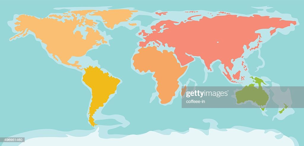 Color silhouette world map vector art getty images color silhouette world map vector art gumiabroncs Images
