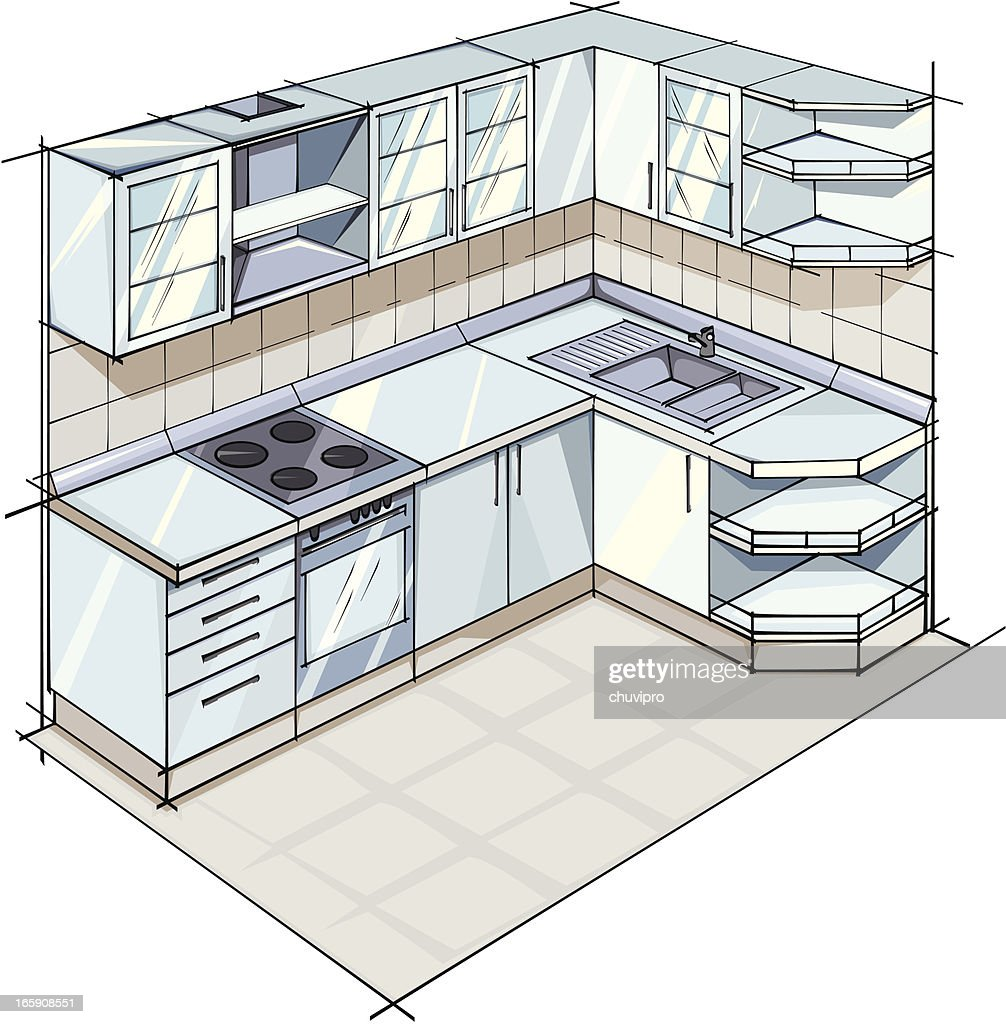 Color sketch of a Modern kitchen suite in gray colors