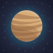 color space landscape background with view venus planet