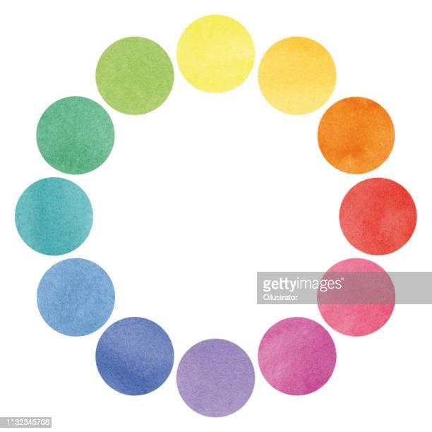 color spectrum circles illustration - watercolor circle stock illustrations